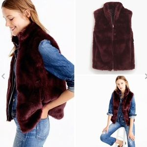 J.Crew | faux fur vest in vivid burgundy